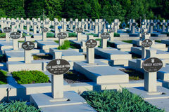 Graves of the Polish warriors on Lychakiv Cemetery Royalty Free Stock Photo