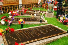 Graves of the Presley Family, Graceland, Memphis. The Graves of the Presley Family, are laid in a special plot on the grounds of Graceland, in Memphis stock images