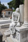 Graves and statues at cimetery of Nice Castle, France royalty free stock photo