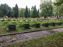 Graves to the fallen soldiers in the Second World War in the cem royalty free stock photos