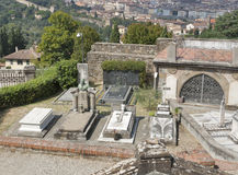 Graves and tombs of old cemetery delle Porte Sante in Florence, Royalty Free Stock Photos