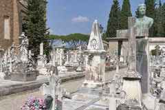Graves and tombs of old cemetery delle Porte Sante in Florence, Stock Photos