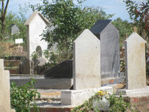 Graves with tombstone in  cemetry. Stock Images