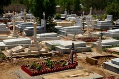 Graves and tombstones with crosses at the Christian Cemetery graveyard Karachi Pakistan Royalty Free Stock Photos