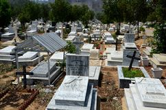 Graves and tombstones with crosses at the Christian Cemetery graveyard Karachi Pakistan Stock Image