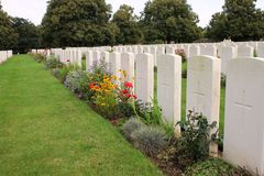 Graves of unidentified soldiers in Loos British Cemetery Stock Image