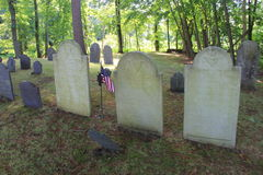 Graves up on top of Author's Ridge, Sleepy Hollow Cemetery,Concord,Mass. 2016 Royalty Free Stock Photo