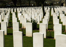Graves at a war cemetery Stock Images