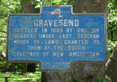Gravesend Memorial Sign in Brooklyn, NY Royalty Free Stock Photos