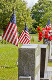 Gravesite with American Flags Stock Photos