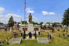 Gravesite and monument of Molly Pitcher. Carlisle, PA, USA – June 26, 2016: The Mary Ludwig Hays - better known as Molly Pitcher - gravesite, located in the Royalty Free Stock Photo