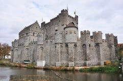 Gravesteen城堡在跟特,比利时(全景) 免版税库存照片