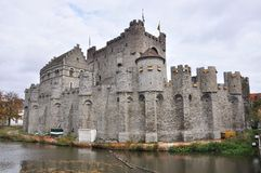 Gravesteen castle in Ghent, Belgium (panorama) Royalty Free Stock Photos