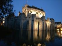 Gravesteen slott i Ghent Arkivfoton