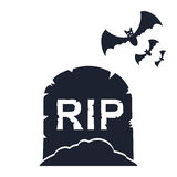 Gravestone with bats. Halloween background. Vector illustration. Gravestone with bats. Halloween background Stock Photo