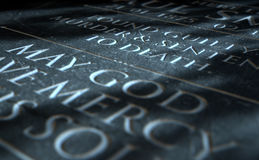 Gravestone Of Convicted Murderer. A 3D render of closeup of a carved and etched tombstone of a convicted murderer Royalty Free Stock Photography