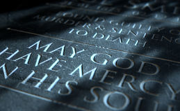 Gravestone Of Convicted Murderer. A 3D render of closeup of a carved and etched tombstone of a convicted murderer Stock Images