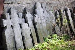 Gravestone crosses. A row of gravestone crosses at orthodox cemetery Stock Image