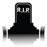 Gravestone detailed silhouette Royalty Free Stock Image