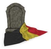 Gravestone and flag of belgium Stock Photo