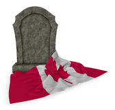 Gravestone and flag of canada Royalty Free Stock Photography