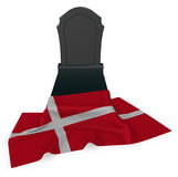 Gravestone and flag of denmark Royalty Free Stock Images