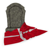 Gravestone and flag of denmark Royalty Free Stock Photography