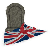 Gravestone and flag of great britain Stock Photography