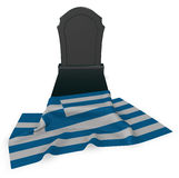 Gravestone and flag of greece Royalty Free Stock Photography
