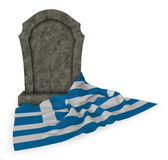Gravestone and flag of greece Royalty Free Stock Photo