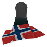 Gravestone and flag of norway Stock Photography