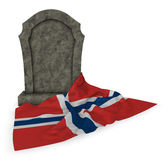 Gravestone and flag of norway Stock Images