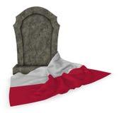 Gravestone and flag of poland Stock Photo