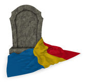 Gravestone and flag of romania Stock Images