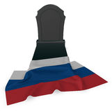 Gravestone and flag of russia Royalty Free Stock Image
