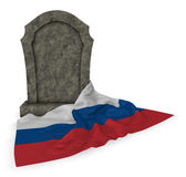 Gravestone and flag of russia Royalty Free Stock Images