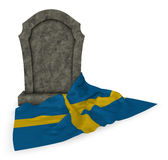 Gravestone and flag of sweden Stock Images