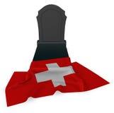 Gravestone and flag of switzerland Royalty Free Stock Photo