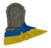 Gravestone and flag of the ukraine Royalty Free Stock Images