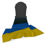 Gravestone and flag of the ukraine Royalty Free Stock Image