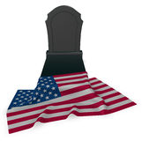 Gravestone and flag of the usa Stock Images
