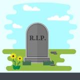Gravestone Flat Design Vector Illustration. Illustration of gravestone on green grass with flowers. Flat design vector tombstone Royalty Free Stock Photos