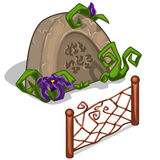 Gravestone with flowers and fence in cartoon style Royalty Free Stock Photos
