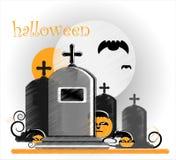 Gravestone in halloween. Gravestone with pumpkin in halloween Stock Photography