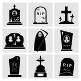 Gravestone icons set Stock Photo