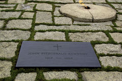 Gravestone of JFK. On Arlington National Cemetery. Kennedy was assassinated on November 22, 1963, in Dallas, Texas by Lee Oswald Royalty Free Stock Photos