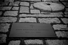 Gravestone of JFK B&W. Black & White image of the gravestone of JFK on Arlington National Cemetery. Kennedy was assassinated on November 22, 1963, in Dallas Royalty Free Stock Photography