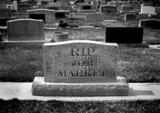 Gravestone for Job Market. Gravestone in cemetery for job market and employment Stock Photography