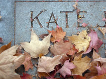 Gravestone and Leaves. Cemetary gravestone marker with fall leaves blown away from the name stock photo