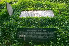 Gravestone of the Levy Family. Who rescued Thomas Jefferson's home, Monticello, in Charlottesville, Virginia Royalty Free Stock Images